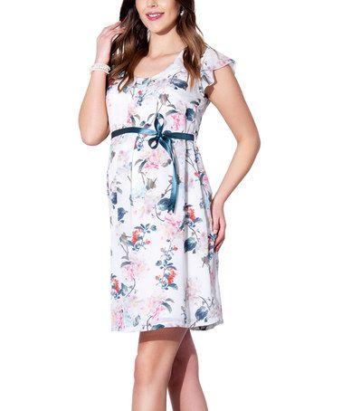 Ecru Floral Tie-Front Maternity Dress - Plus Too #zulily #zulilyfinds