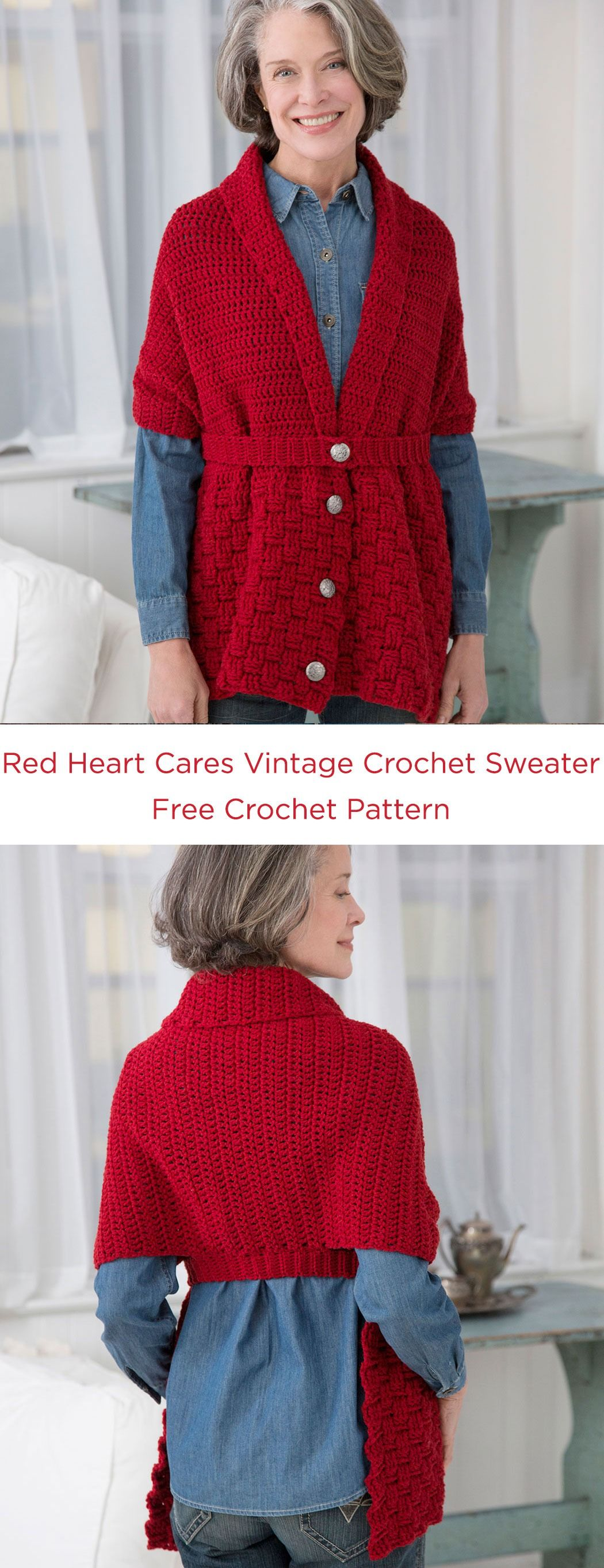 Red heart cares vintage crochet sweater free crochet pattern in red heart cares vintage crochet sweater free crochet pattern in red heart yarns this modern crochet wrap was actually inspired by a sweater scarf from bankloansurffo Image collections