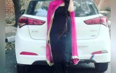 Cute and Stylish Girl with car Attitude Dp for girlz fb