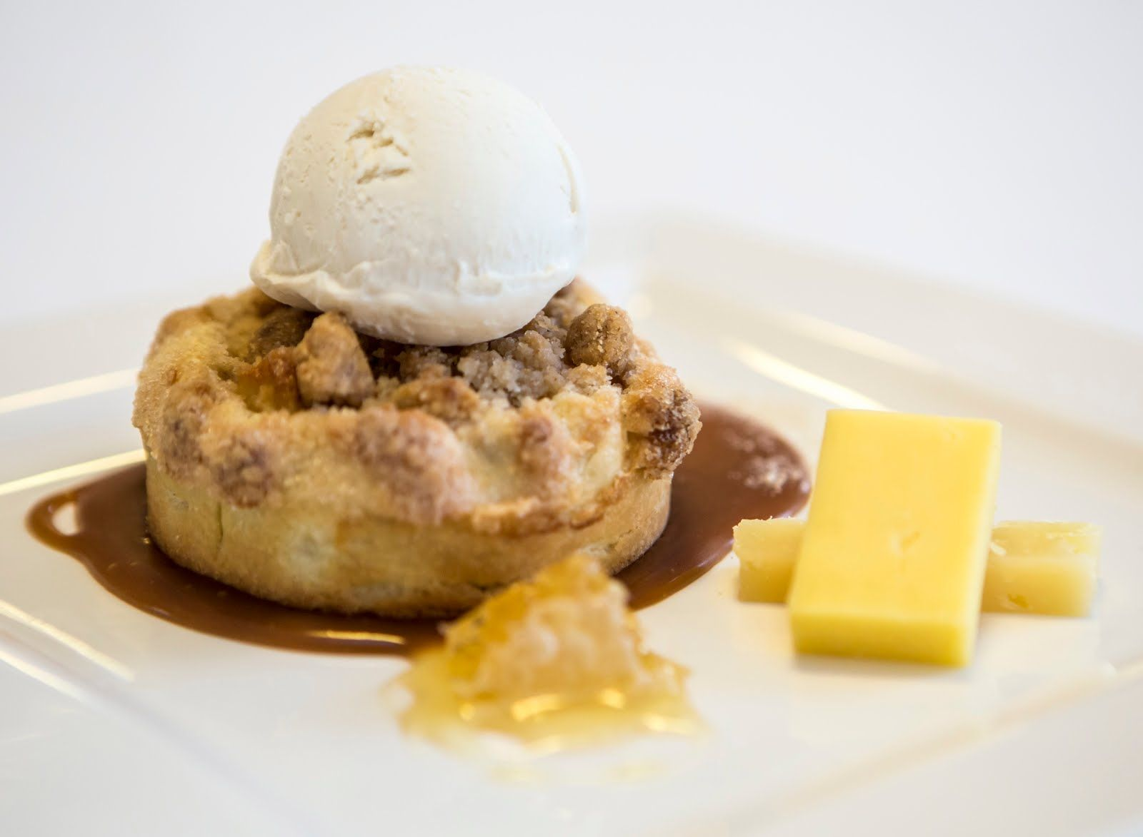 Hudson Valley Apple Pie with Sour Cream Ice Cream, Aged Cheese and Honey
