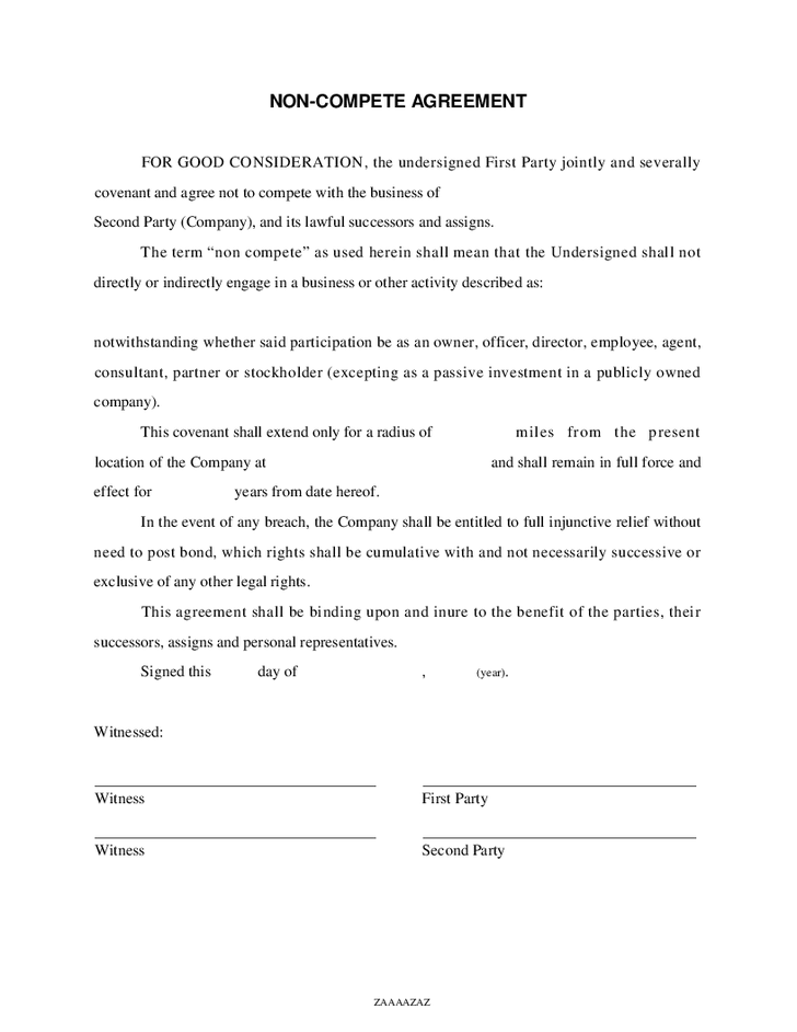 Non Compete Agreement Template Non Compete Agreement Free Template