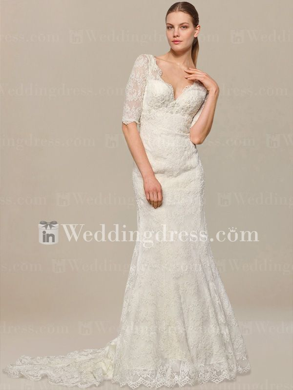 Vintage Lace Wedding Dress with Elbow Sleeves DE114
