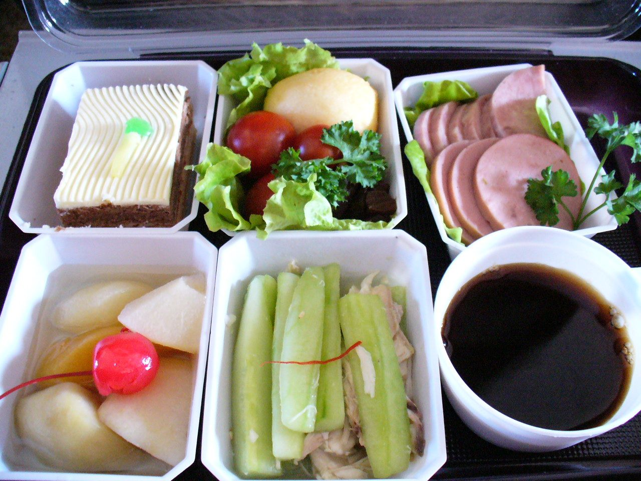 Air Koryo inflight meal. A triumph of colour over substance