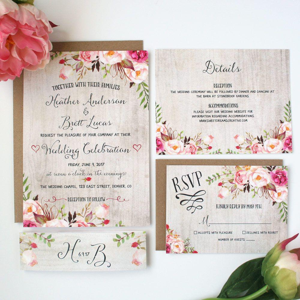 Rustic Wedding Invitation Ideas: Rustic Garden Riley Wedding Invitation Suite