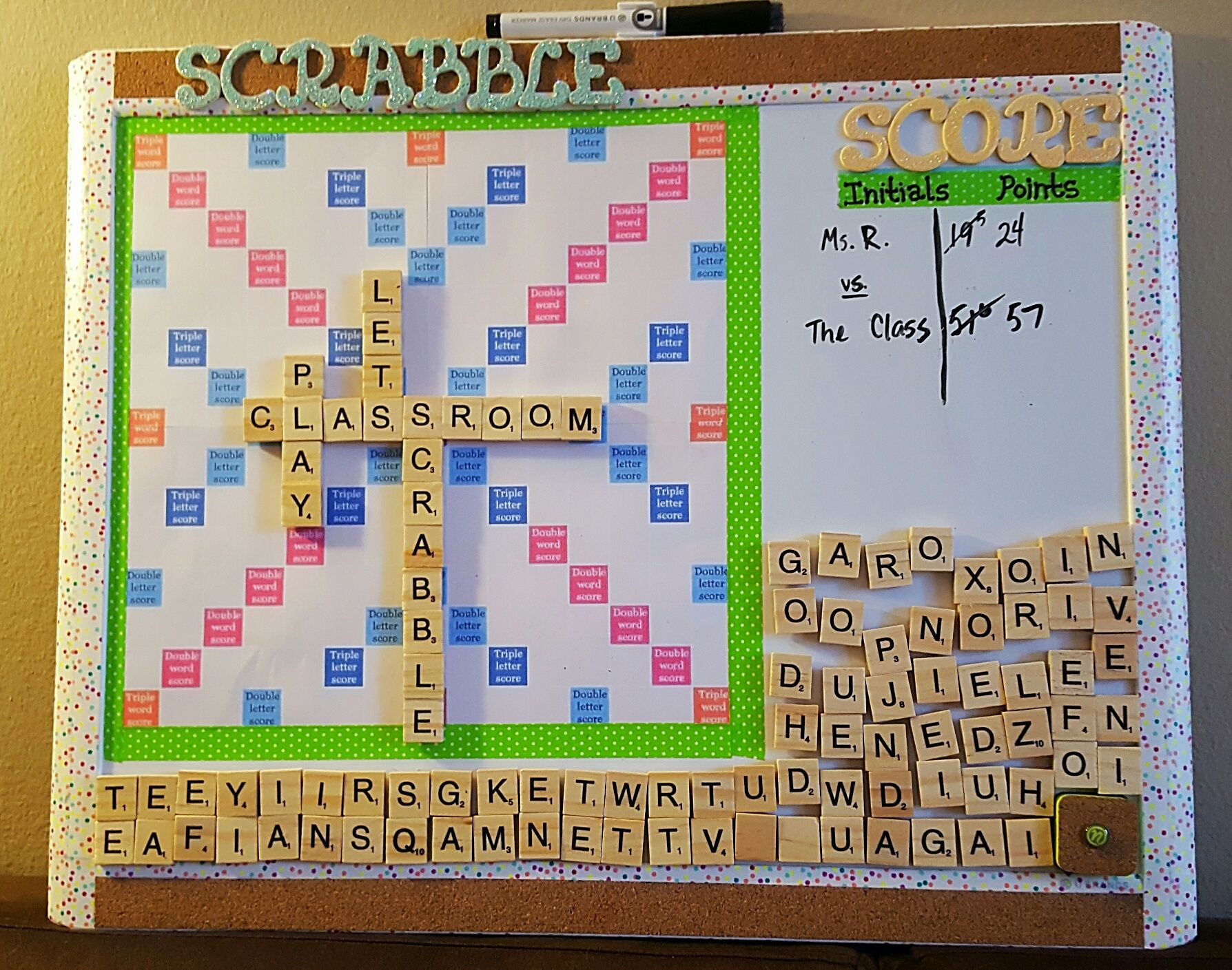 Magnetic Scrabble Board For The Classroom I Made It From A Magnetic Whiteboard Walmart Used Washi Ta Classroom Games Favorite Board Games Board Game Themes