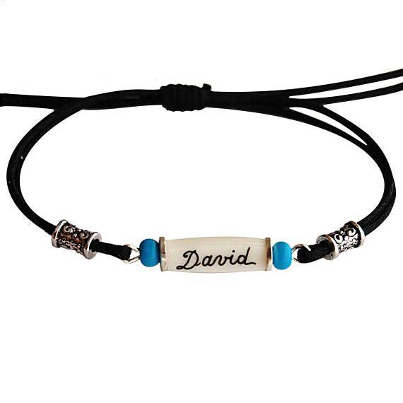 Bracelet ethnique personnalisé avec prénom au choix pour homme et ado