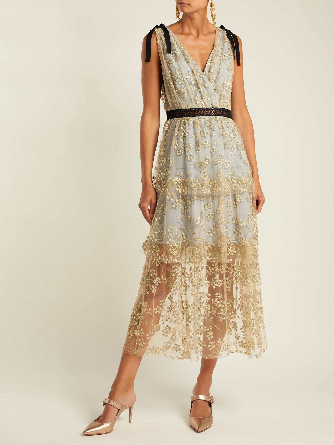 625360f9a9b6 Floral-embroidered tulle midi dress by Self-Portrait | Playing Dress ...