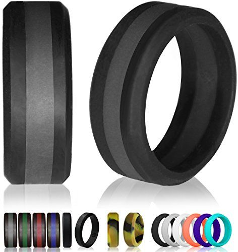 Silicone Wedding Ring By Knot Theory Black Slate Grey Line Size 9 5 10 8mm Band For Superi Rubber Rings Wedding Rubber Wedding Band Silicone Wedding Band
