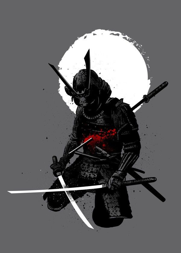 Samurai Down Japanese Asian Poster Print Metal Posters With