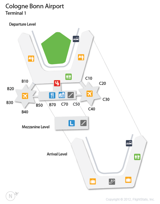 (CGN) Cologne Bonn Airport Terminal Map Airports