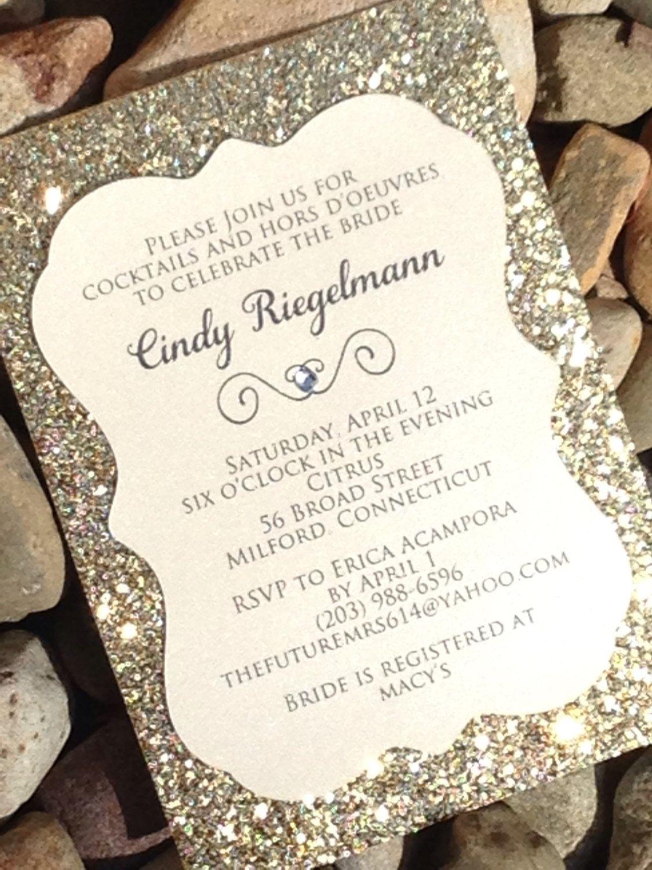 Bridal Shower Invitation Glitter Invitations Engagement Announcement Wedding Gold Silver Cut Invite
