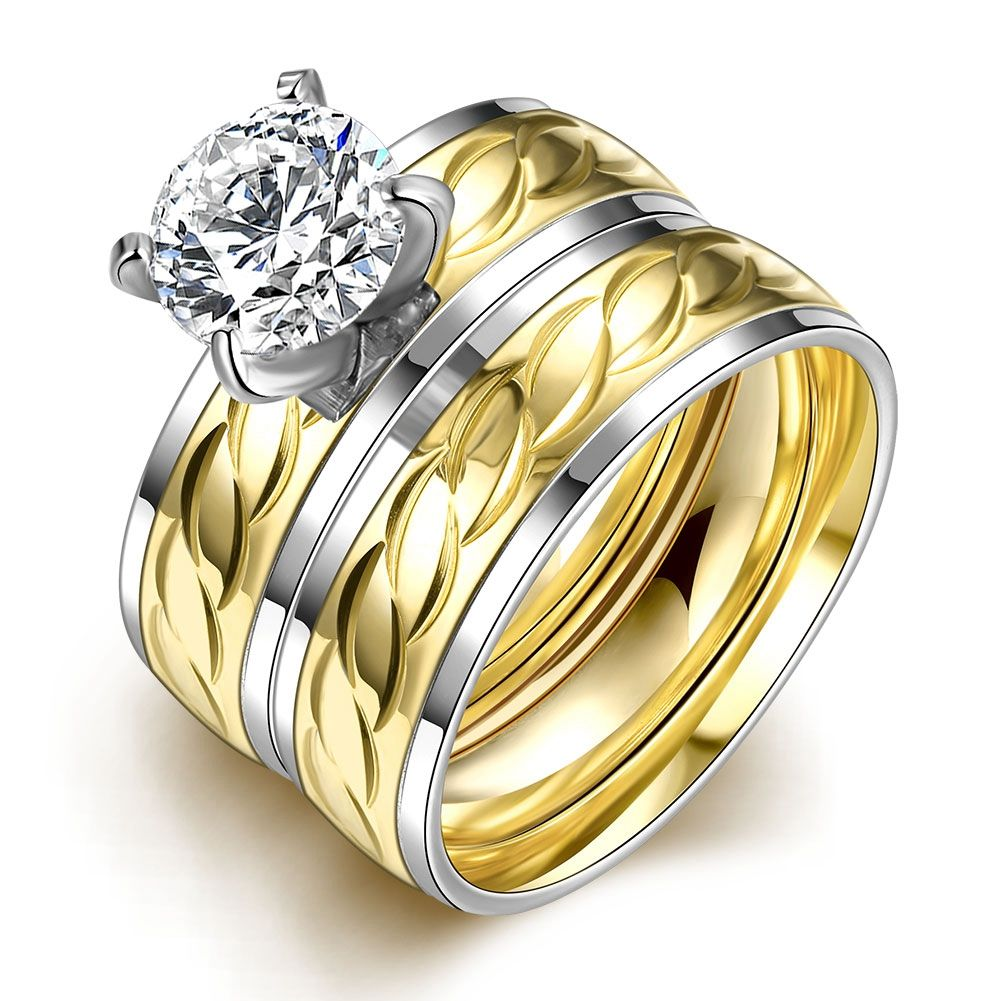 6mm Titanium Steel CZ Korean Couple Rings Set For Men Women Engagement  Lovers Classical Rings