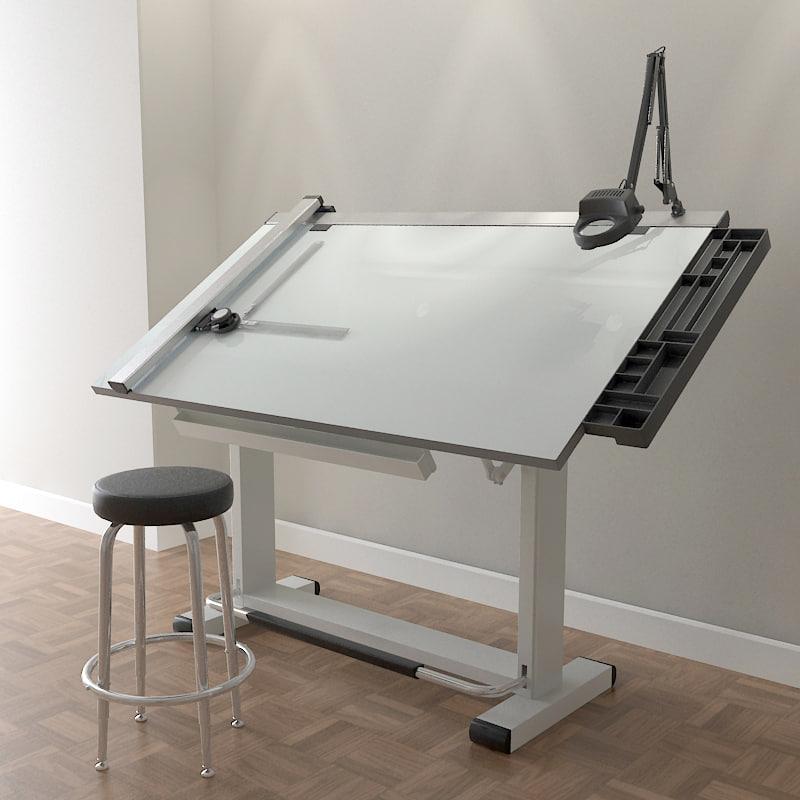 Pro Drafting Table Set 3d Model Architect Table Drafting Table Architects Desk