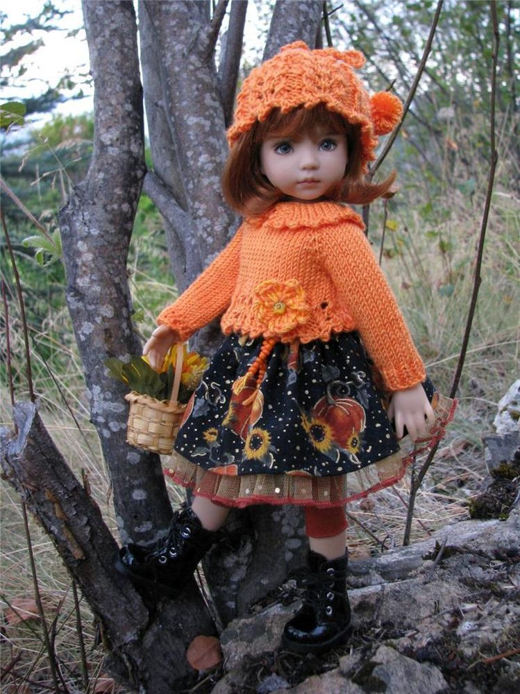 """~PUMPKINS & SUNFLOWERS!~by Tuula fits Dianna Effner 13"""" Little Darling to a """"t""""!"""