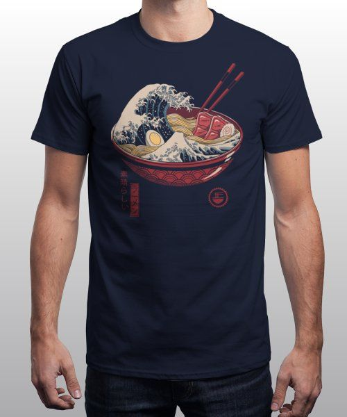 """""""Great Ramen Wave"""" is today's £9/€11/$12 tee for 24 hours only on Pin this… 