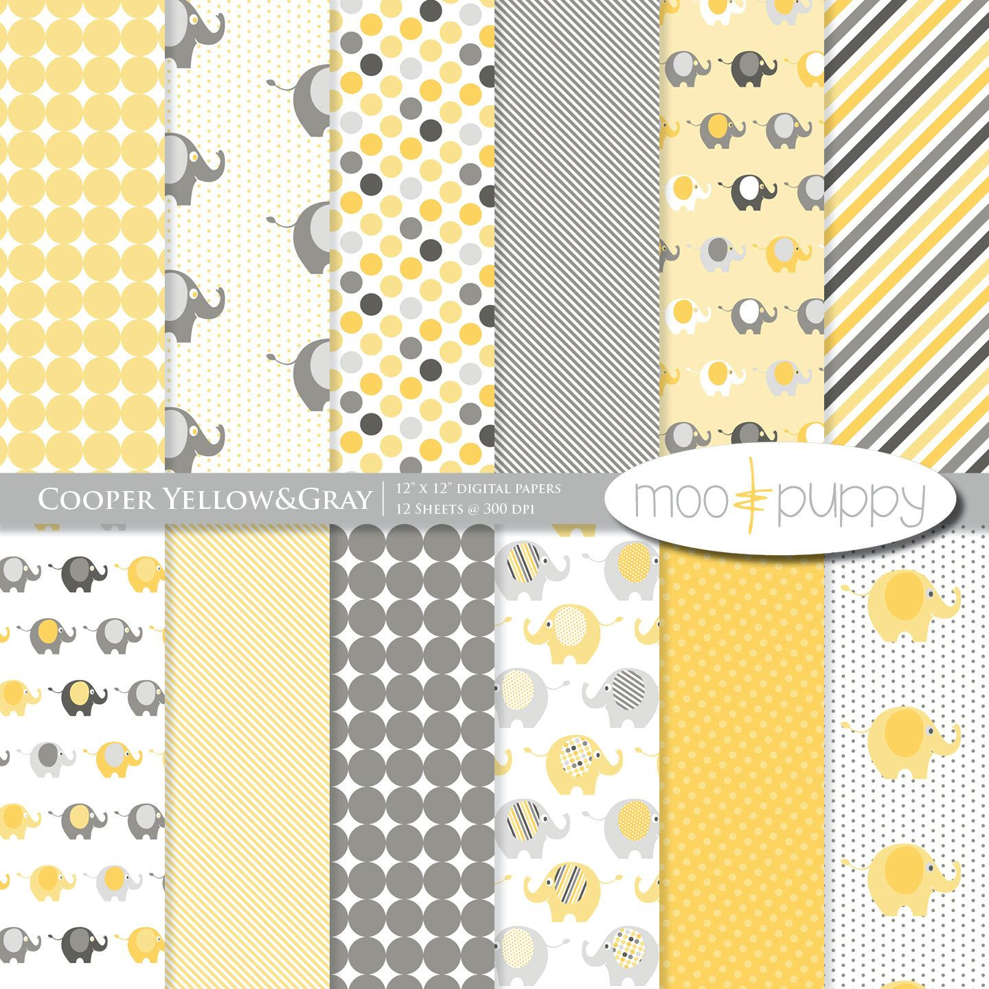 Yellow And Gray Elephant Digital Scrapbook Paper Pack Moopuppy