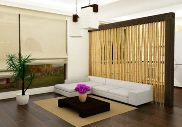 Captivating Inspiration Bamboo Interior Design Ideas : Moder Elegant Bamboo Partition  In Living Room Interior Design With Sectional White Sofa And Dark Wooden  Low Table ...