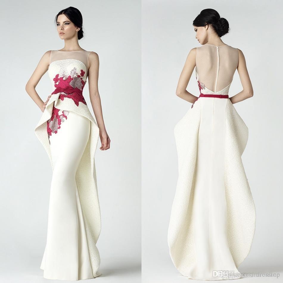 Unique design white mermaid prom dresses sheer neck illusion