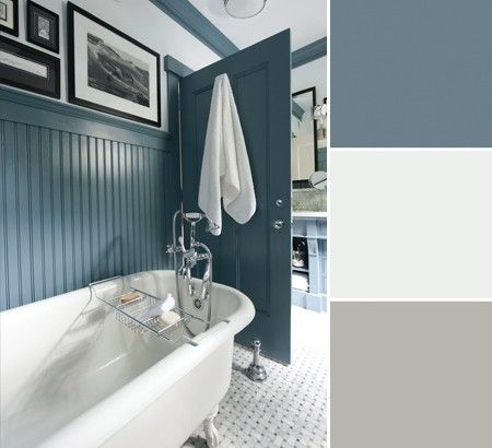 This Beadboard Wainscotting Called For A Blue With Bit Of Country So Mitchell Chose Benjamin Moore S Normandy 2129 40 And Paired It Bright Ultra