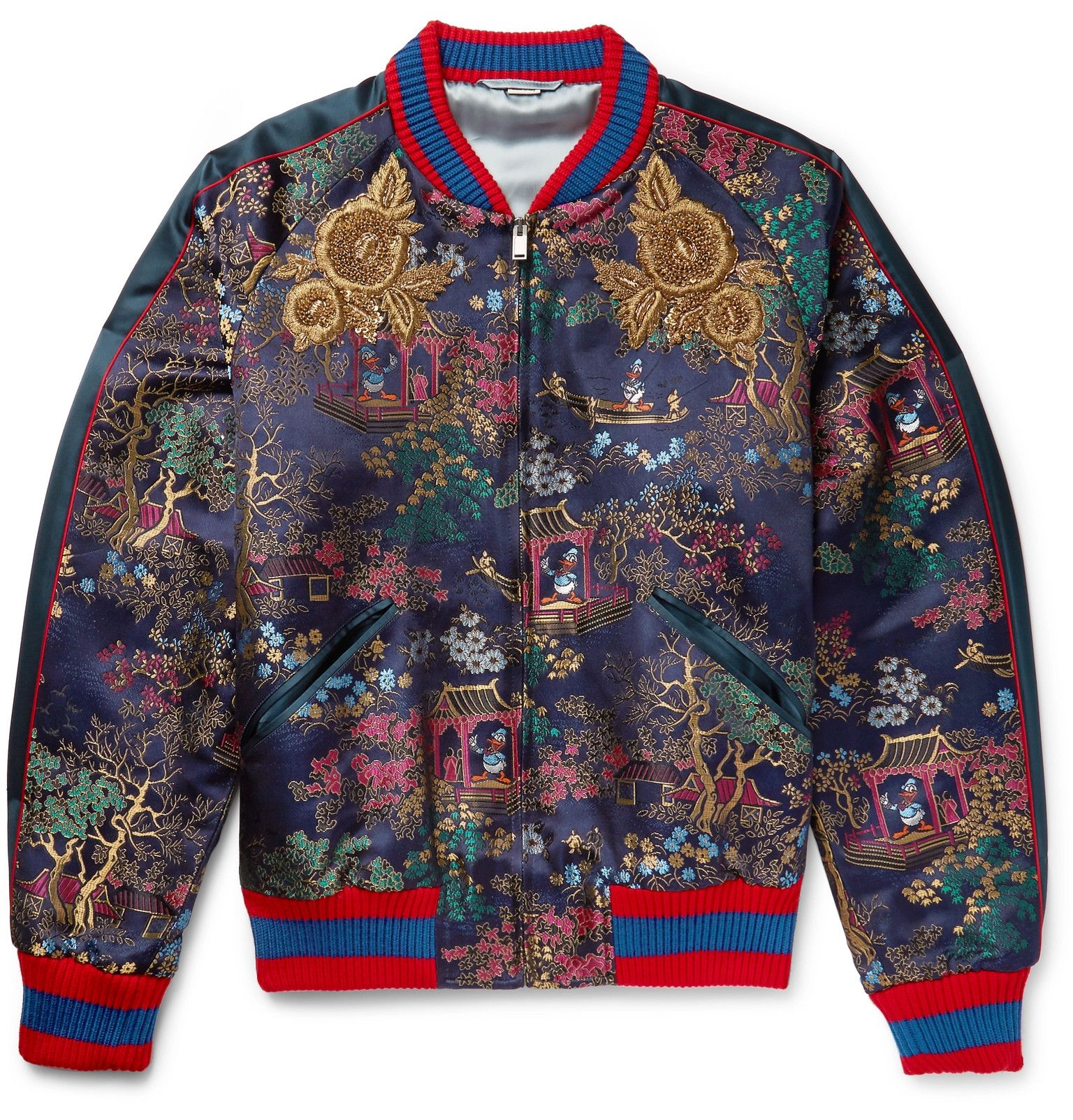 bcb072334 Gucci - Embroidered Jacquard Bomber Jacket | Navy x Black: Prints + ...