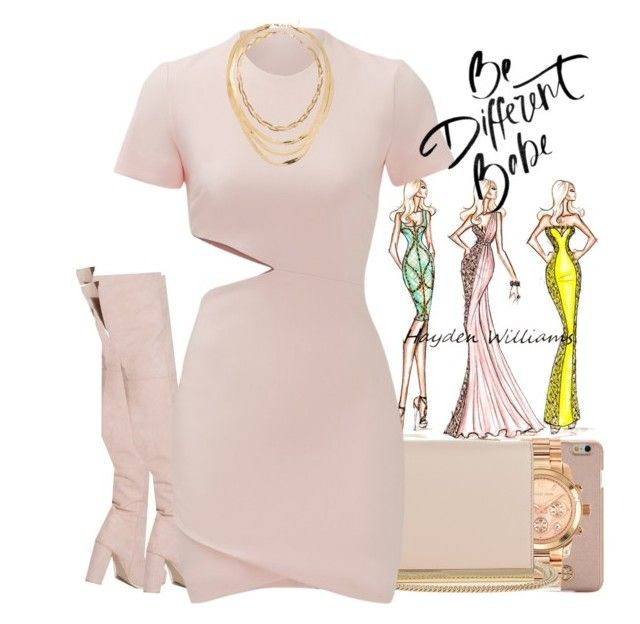 """Soft pink. 9.7.16"" by learic-monae ❤ liked on Polyvore featuring Tory Burch, Michael Kors, Diane Von Furstenberg, Nly Shoes, Elizabeth and James and ASOS"