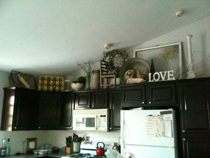 Decorating above kitchen cabinet - antiques - nature ...