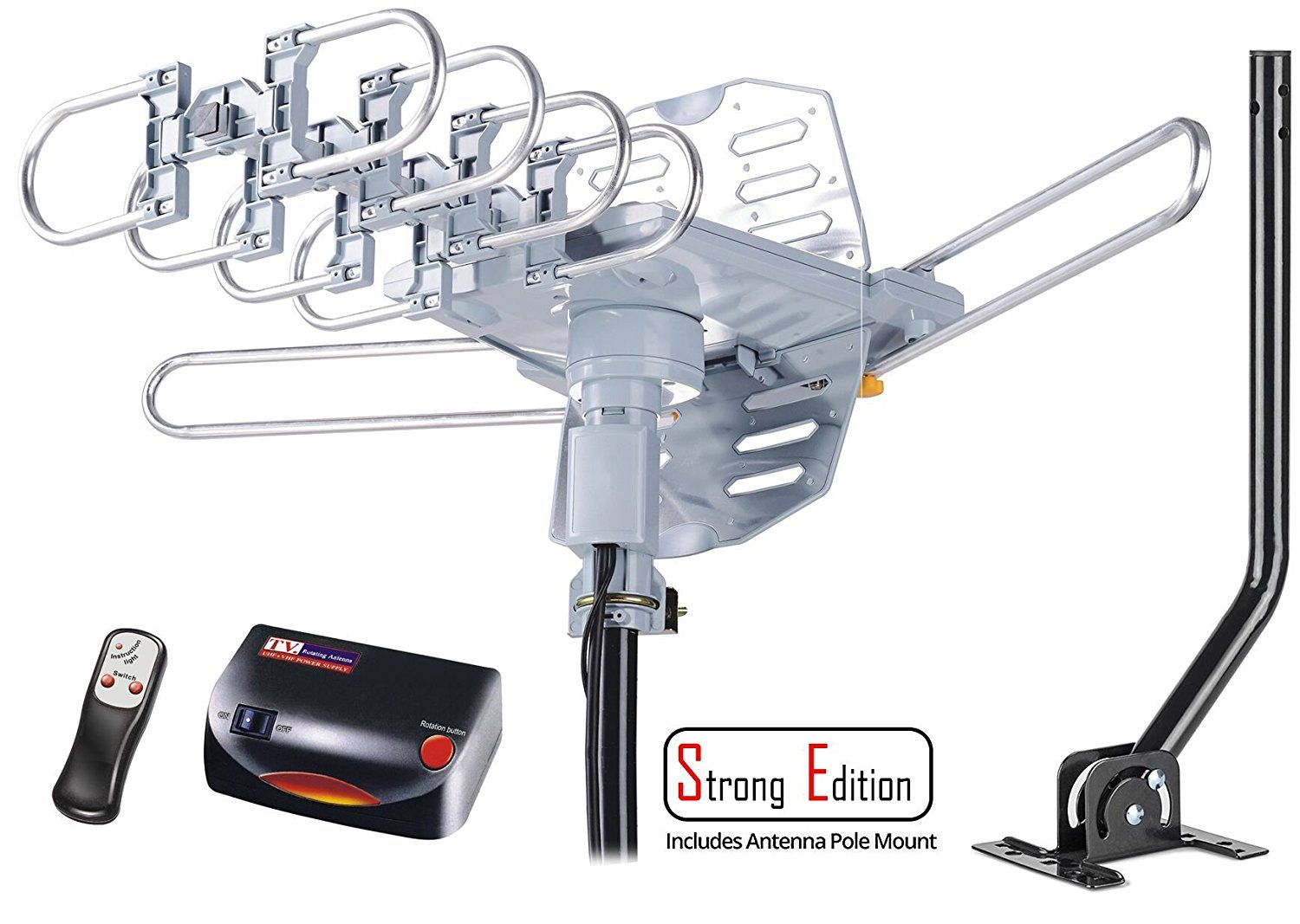 HDTV Antenna Amplified Digital Outdoor Antenna with Mounting Pole 150mile 360
