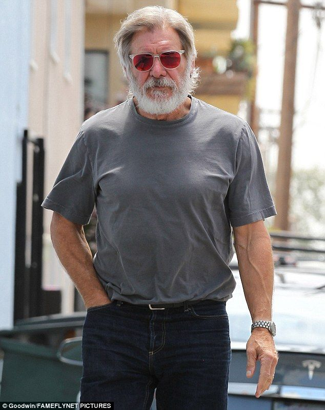 Grey beard  Harrison Ford was on a solo outing on Thursday in Santa Monica 50fc85aad84d