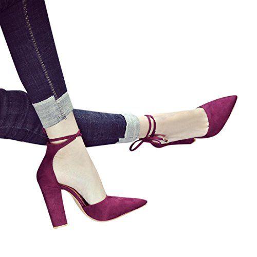 49272f6d6b04 OverDose Chaussures à Bout Pointu Talons Hauts Carrés Sexy Sandales Femme  Escarpins High Heels (37 Rouge)