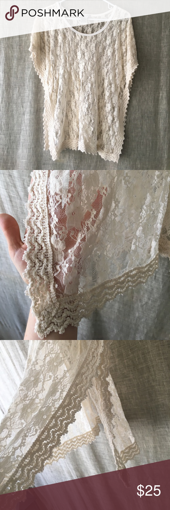 One of my favorites for a long time 💕 Cream top with flowered lace! This was one of my favorite shirts for a long time. When someone ask you if that is the only shirt you own I think it's time to retire it to a new user Tops Blouses