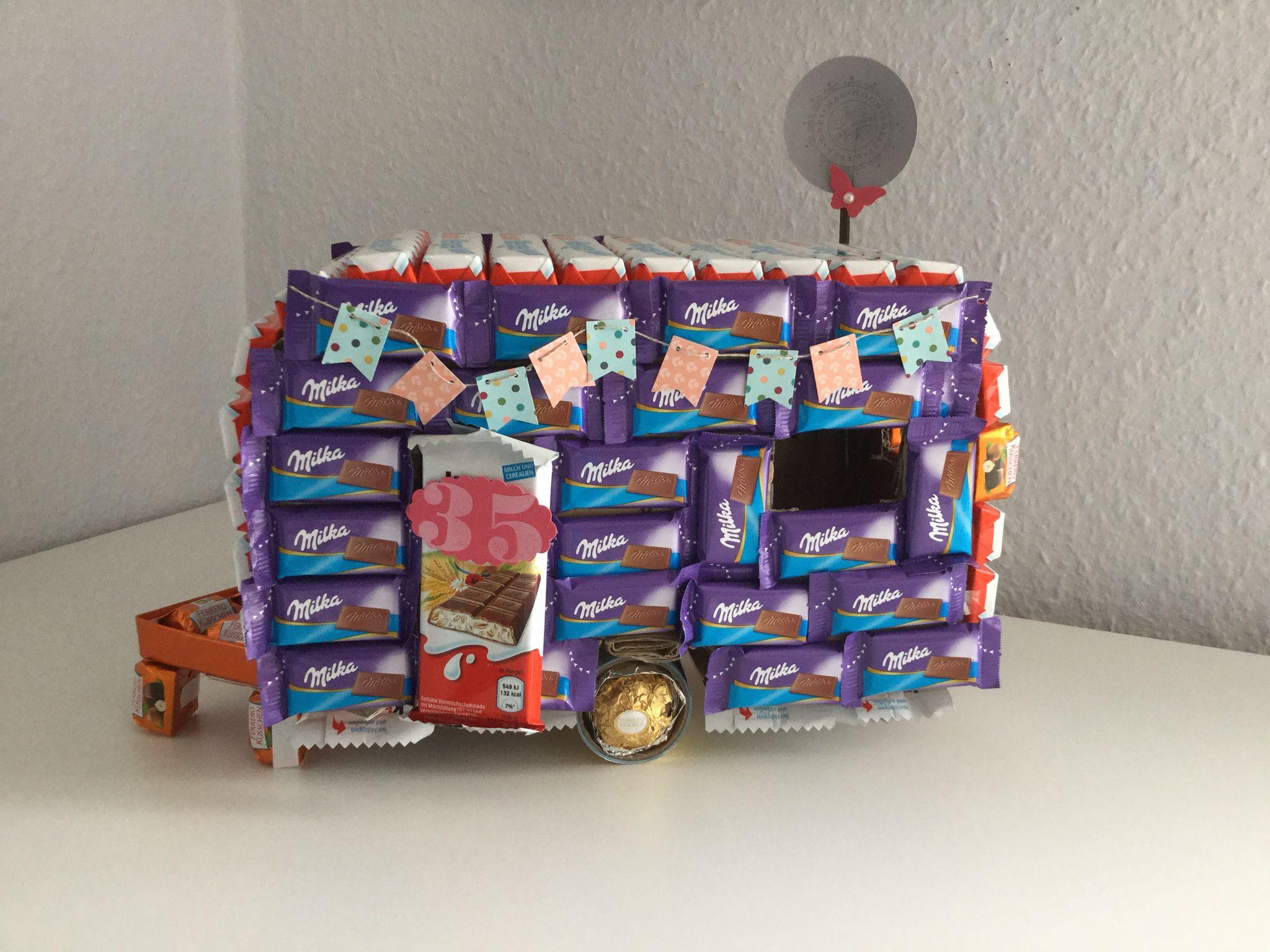 wohnwagen aus milka und kinderschokolade f r naschs chtige camper zum geburtstag pinterest. Black Bedroom Furniture Sets. Home Design Ideas