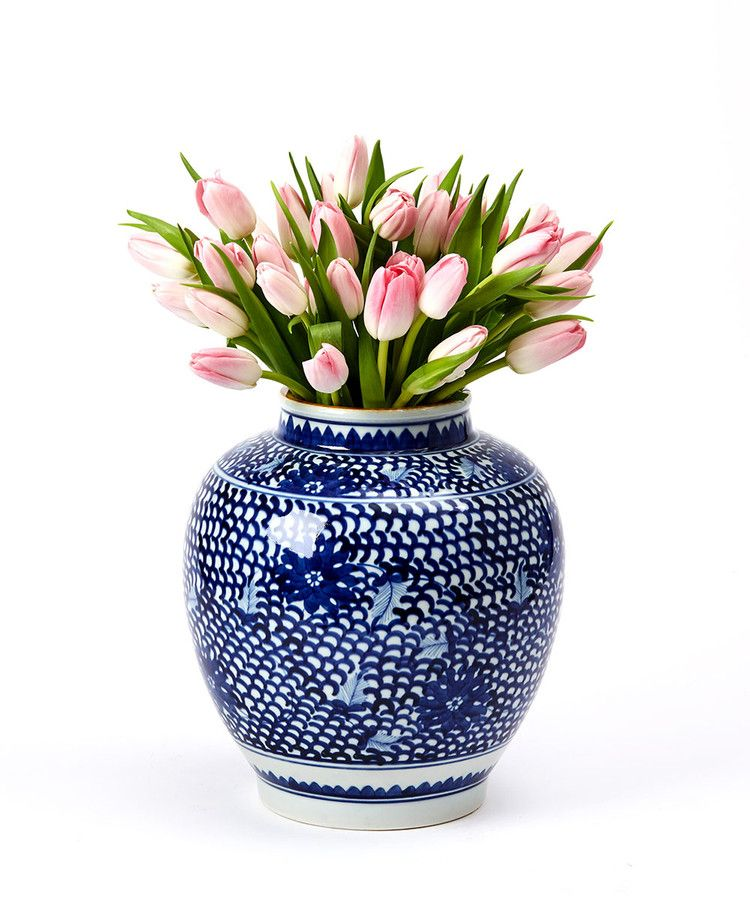 Lotus Design Porcelain Ginger Pot Hand-painted in a traditional design of scales and flowers, the Lotus Design Porcelain Ginger Pot makes an ample vase for a lush bouquet or a beautiful accent to a Delft blue room. The mix of botanical and geometric patterns offers traditional appeal, while the beautiful porcelain of the vase gleams softly for a distinctive luxury look on a rosewood sideboard or marble console.