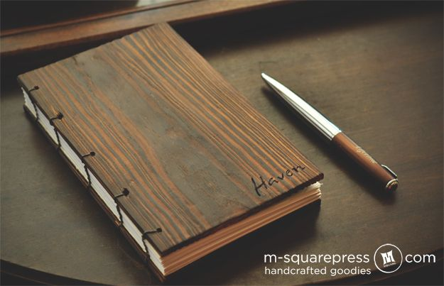 Wood Cover Cookbook : Personalized pine wooden cover book m squarepress