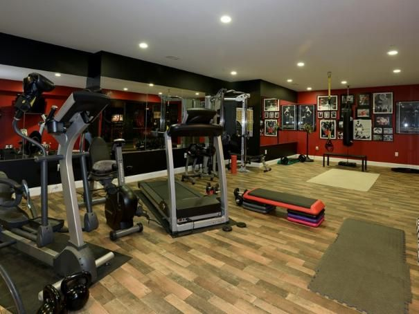 Photo of red contemporary gym project by claude c lapp
