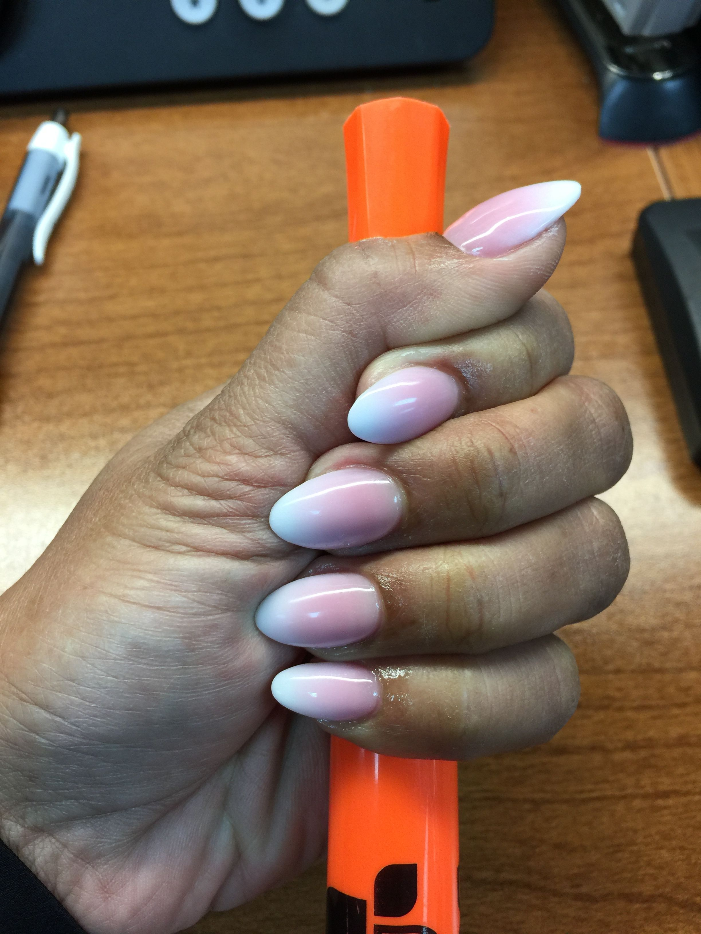 French Ombré Almond Shape Makeup nails, Almond nails