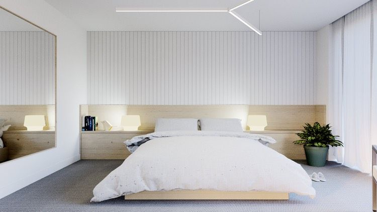 Schlafzimmer in weiß und helles Holz Spiegelwand Wohnideen fürs - schlafzimmer in weiß