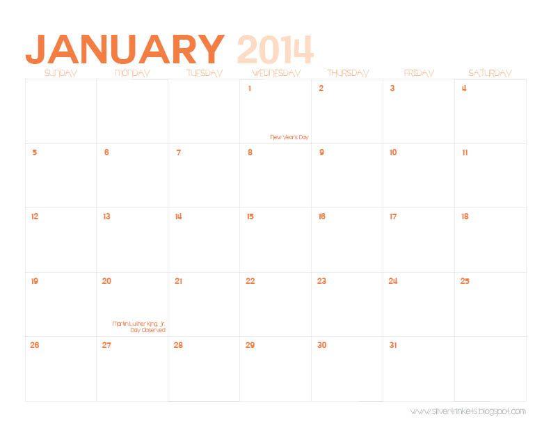 January 2014 meal planning calendar DIY - inspiration Pinterest