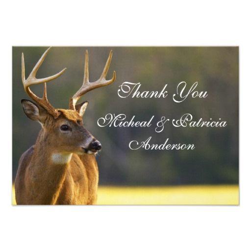 Hunter Deer Wedding Thank You Announcement Nature