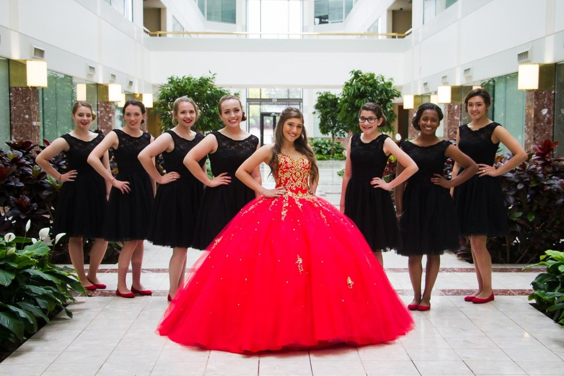 049762ee877 Quinceanera and her damas...red