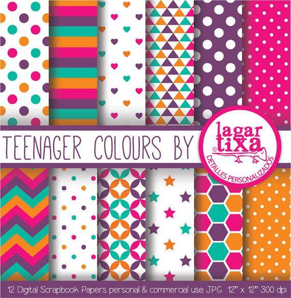 Hot Pink Orange Purple Teal Digital Paper Teenagers Fucsia Geometric Vivid Funny Colours Background Chevron Hearts Pink Stripes Polka Dots Digital Paper Digital Scrapbook Paper Scrapbook Patterns