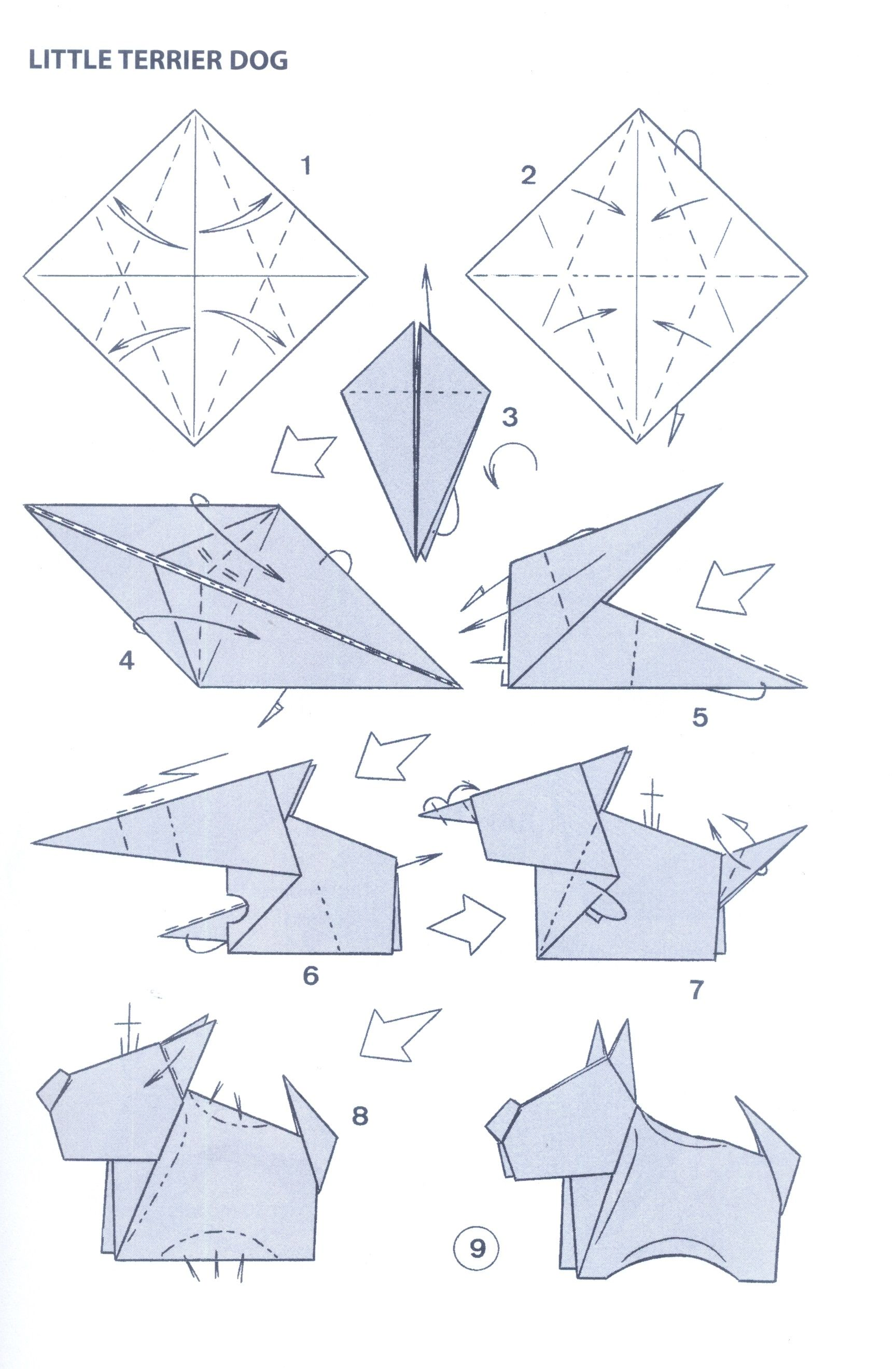 Origami fox of paper with your hands - three schemes