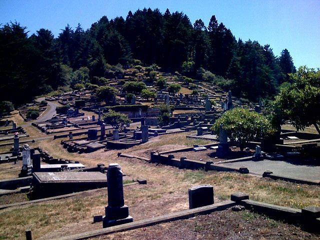 Ferndale, California has the coolest cemetery that I have EVER SEEN!!  It has been damaged by earthquakes and it is very unique!