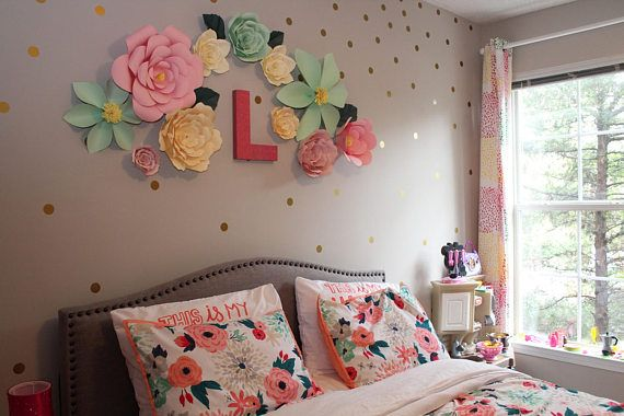 Paper Flower Backdrop Large Paper Flower Wall Decor Spring Small Room Bedroom Girl Room Tween Girl Bedroom