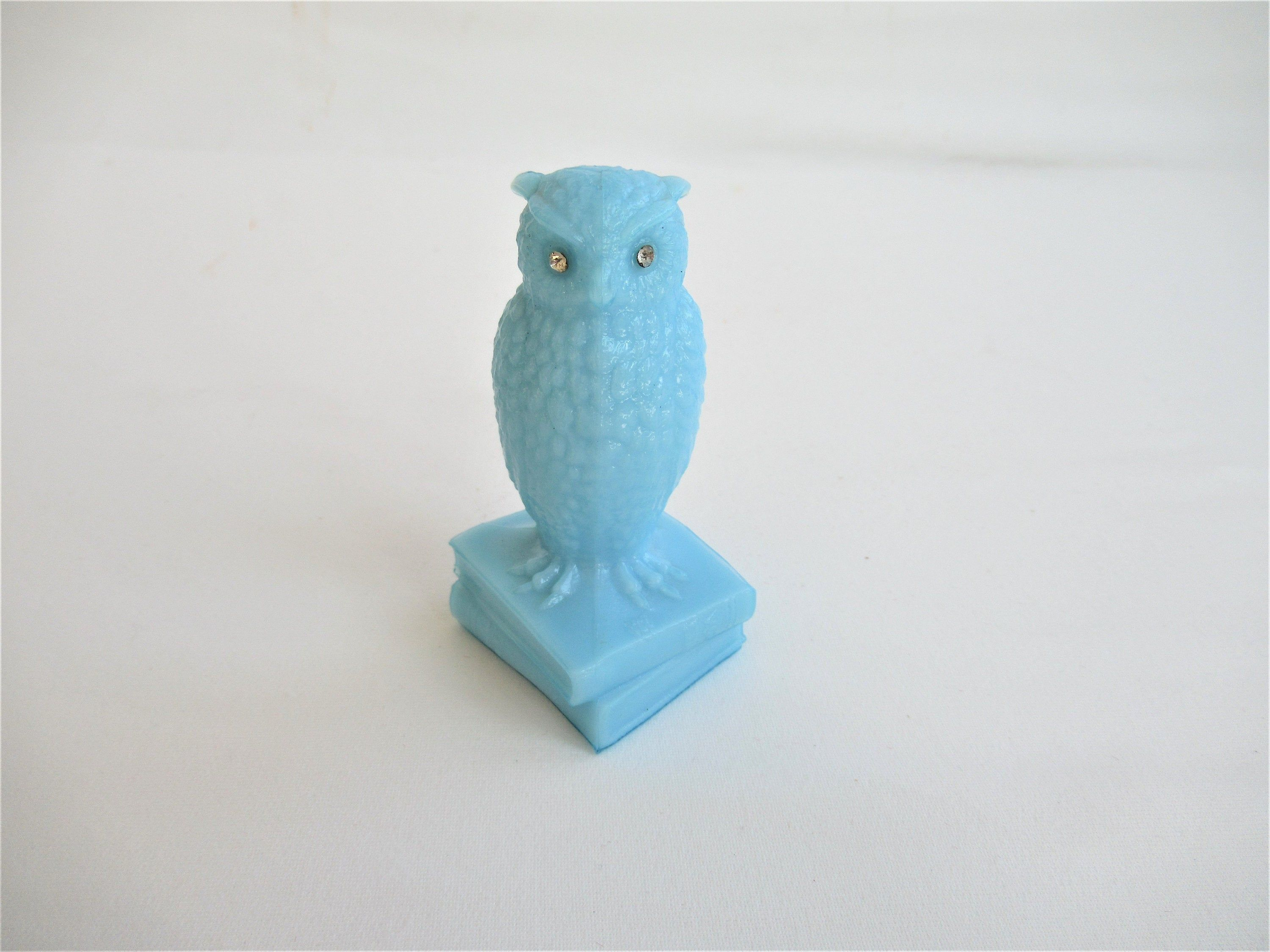 Vintage Blue Glass Owl On Books Figurine Westmoreland Light Blue With Rhinestone Eyes 3 Tall Blue Glass Figurines Owl Collection