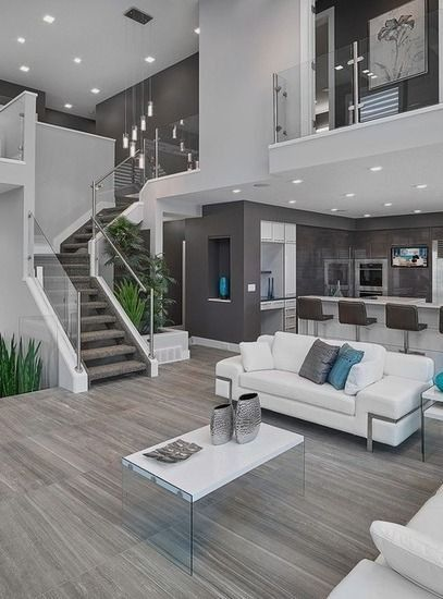 Homedesign livingroomdecor inspiration for  contemporary open concept living room in edmonton with gray walls  houzz also die freitragende treppe zum obergescho wurde nac rh pinterest