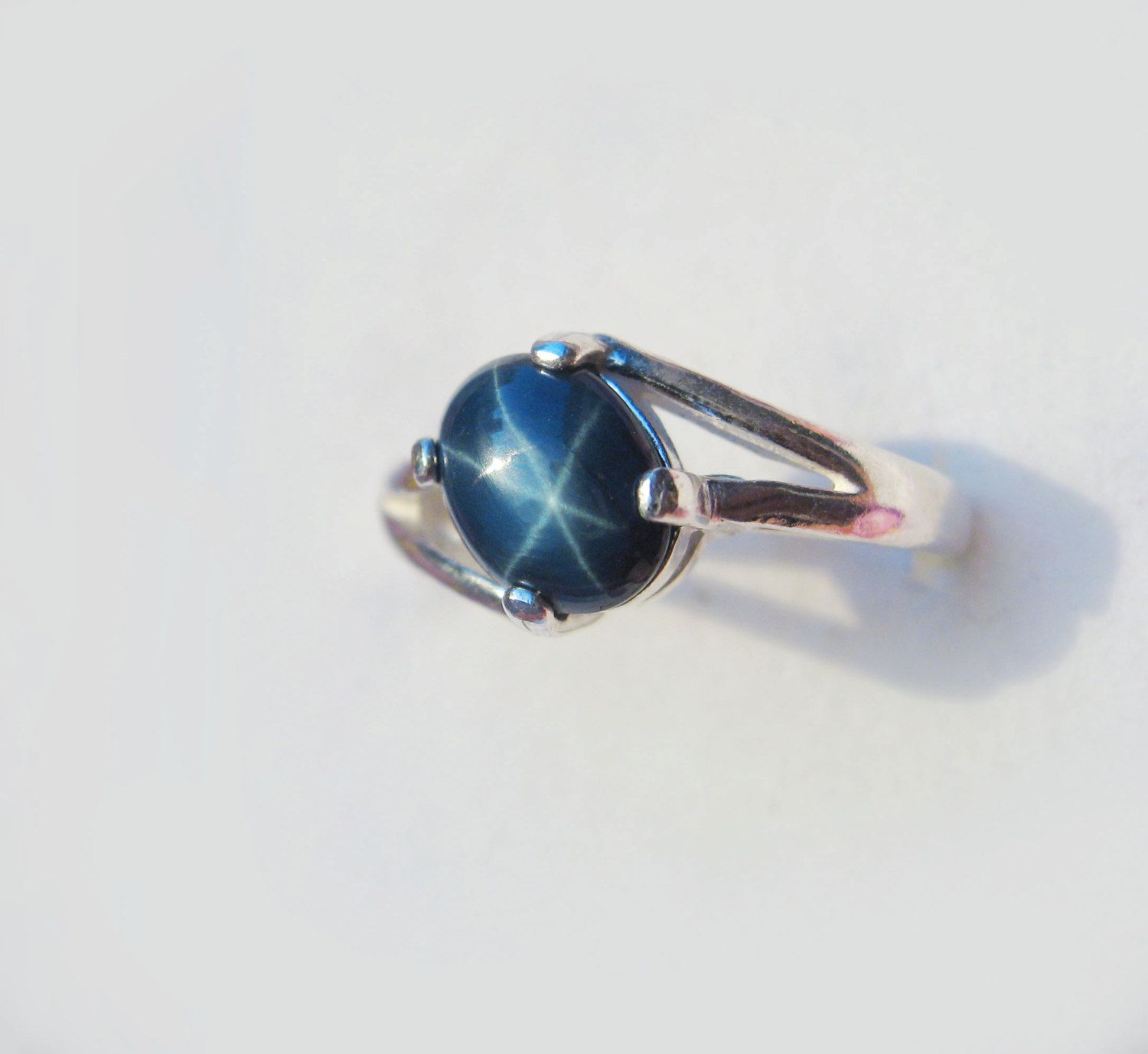 genuine cut and gold white rings sterling star blue solid multi ring silver sapphires stone oval sapphire