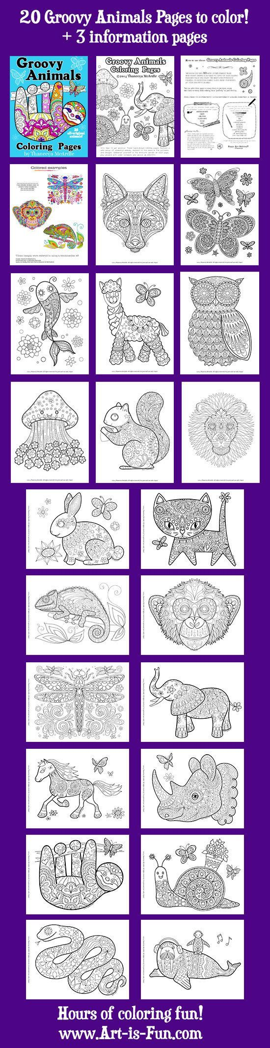 groovy animals coloring pages pdf 20 printable animal by thaneeya coloring books for adults. Black Bedroom Furniture Sets. Home Design Ideas