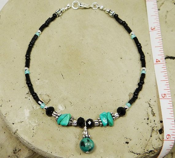 Beaded anklet ankle bracelet made with a turquoise blue and black semi precious round bead dangle, jet black crystal donuts, matching turquoise