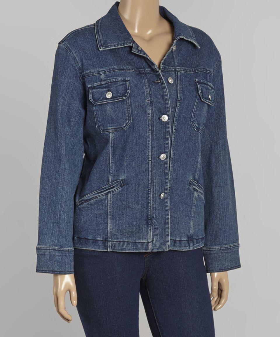 Another great find on #zulily! Christine Alexander Dark Denim Button-Up Jacket - Plus by Christine Alexander #zulilyfinds