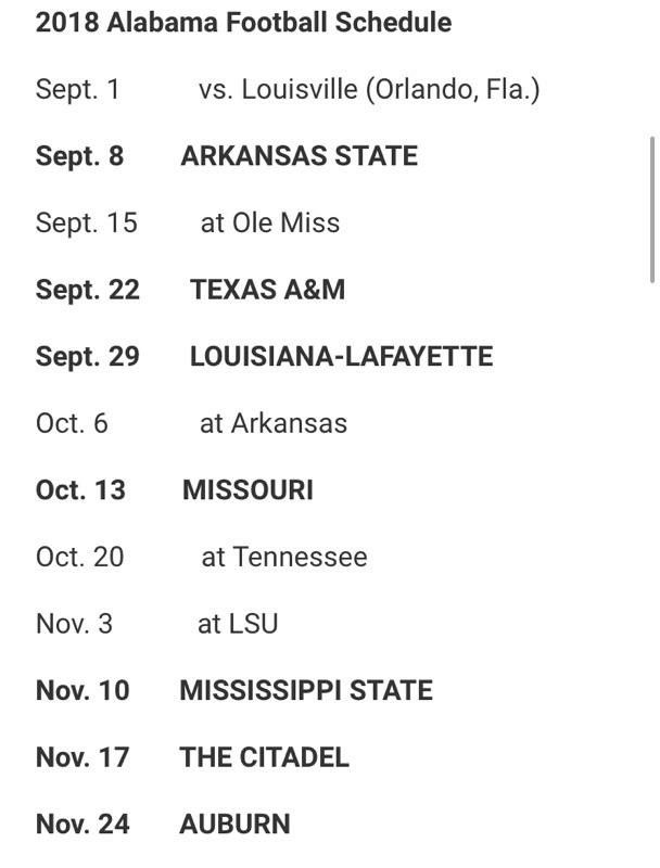 Alabama Football Schedule 2018 Roll Tide Pinterest Alabama
